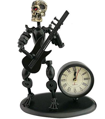 en Kunst Mutter und Schraube Skull Music Man Figur Elegante und einzigartige Western Style Uhr Armbanduhr ~ HOME OFFICE Schreibtisch Decor Geschenk Electric Guitar (Personalisierte Geschenke Western)