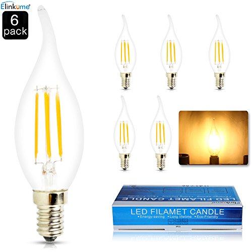 6x COB E14 Energie Einsparung Glühfaden 4 Watts 427 lumen LED Kerze Filament Lampe Fadenlampe Flammenspitze Chandelier 230v Warmweiß(2800-3200K) -