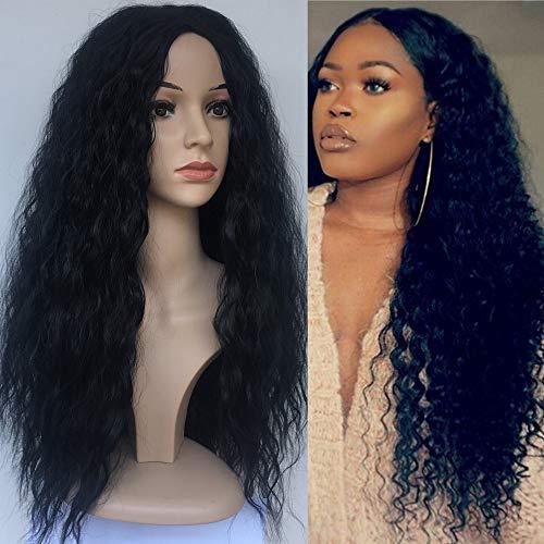 serliy Art und Weise synthetische Perücke-Seitenteil-mittlere gelockte schwarze Haar-volle Perücke für Frauen