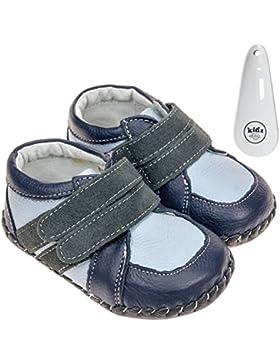 FREYCOO Zapatos de Bebé Para Niños de Piel Auténtica con Suela Suave – Azul Marino, Azul Claro y Gris con Velcro...