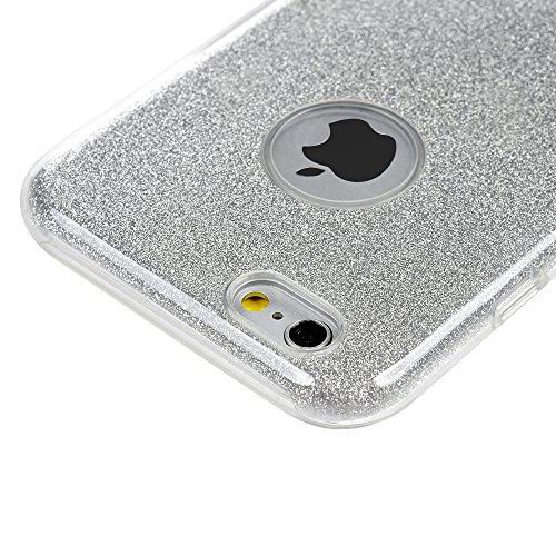 Badalink Bling Bling iphone 6 6s Hülle Schutzhülle Bunt Bling Bling Strass Glitzer TPU Hybrid Schutzhülle für iphone 6 6s - Rosa Style Cover Handyhülle Schale Silber