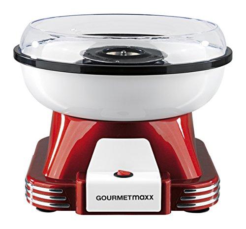 GOURMETmaxx Zuckerwattemaschine für Zuhause mit Zubehör | Retro Cotton Candy Machine Nostalgie mit Zuckerwatte-Stäbchen und Mess-Löffel | Zuckerwatte für Kinder Party [Rot Weiß]
