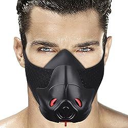 Máscara deportiva de entrenamiento para resistencia a la respiración, hipóxica, máscara de fitness para correr, máscara de resistencia para lograr efectos alta altitud con regulador de flujo de aire de 3 niveles