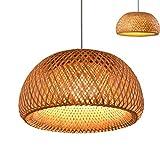 Vintage tissé pendentif lampe en bambou naturel rotin lustre à la main Creative Garden suspendu lampe E27 hauteur réglable lampes suspendues Restaurant salon de thé chambre salon café,45cm