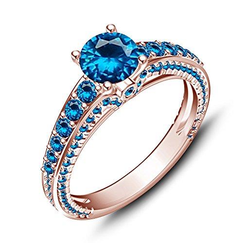 Vorra Fashion Sterling Remasuri 14K Rose Vergoldet mit Blau Topas Disney Princess Ariel Hochzeit Ring (Blau Disney Princess-ring)