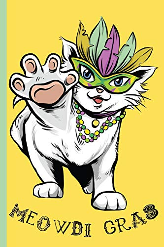 Gras Cat Wearing Feather Mask and Colorful Beads: College Ruled Notebook ()