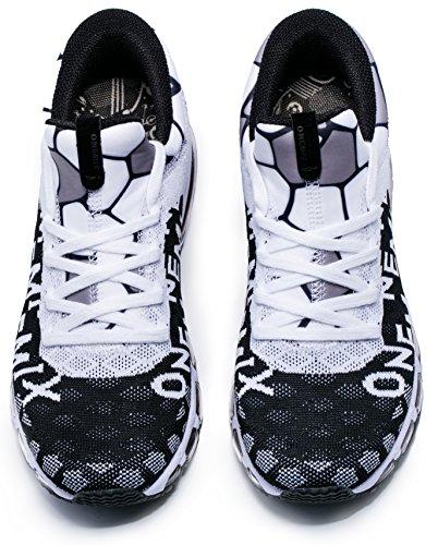 ONEMIX OMEMIX Scarpe Uomo Donna Sportive Outdoor Running Sneakers Fitness Interior Casual Bianco/Nero
