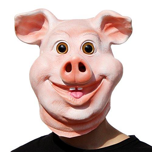 (PartyCostume - Glückliches Schwein Maske - Halloween Party Lustig, Süß Latex Tierkopf Maske)