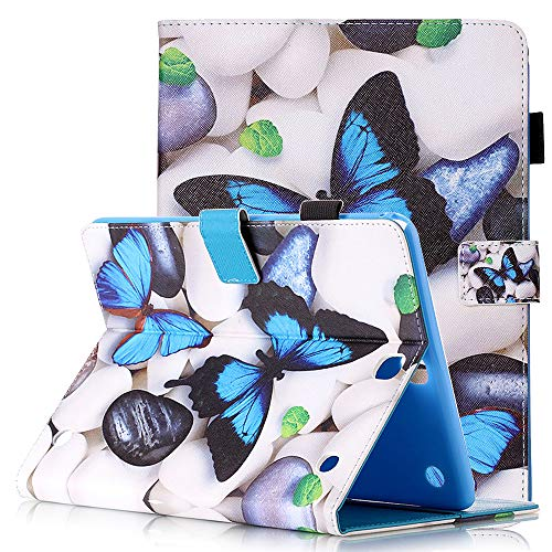 Samsung Galaxy Tab A 9.7 SM-T550 Tablet Hülle 2015 Schutzhülle Leder Smart Card Case mit Auto Sleep/Wake Stylus Pen Holder Cute Cartoon Flip Stand Cover for Samsung SM-T555, 3D Blue Butterfly - Tablet Case Samsung