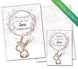 U-Heft Hülle Cute Bunny Hase SET Untersuchungsheft Hülle & Impfpasshülle schöne Geschenkidee personalisierbar mit Namen & Geburtsdatum (U-Heft Set personalisiert, Josy)