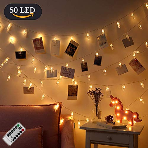 LED Fotolichterkette OASMU LED Foto Clips Lichterketten Fotolichterkette mit 50 Clips, 5 Meter Photoclips Lichterketten