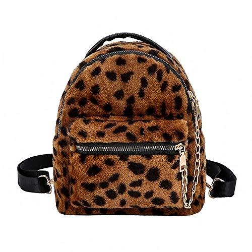 Mochila de Mujer Nuevo diseño Mochila de Cadena de Leopardo Bolsa de Viaje Mochila for Mujer Mochila Escolar for niñas y Estudiantes (Color : Brown, Size : M)