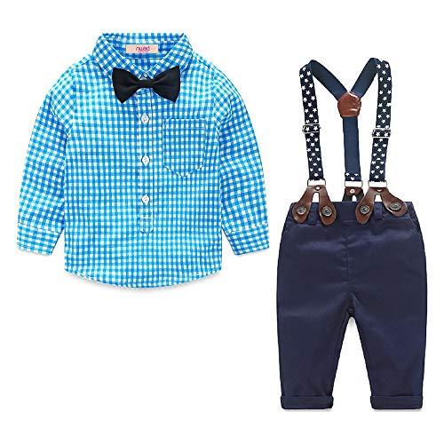 Ropa Bautizo Bebe Conjunto Verano Americana Niño Camisa Azul de Manga Larga y Pantalón de Tirantes...