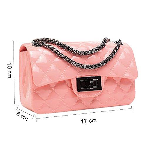 Tasche Rosa Designer Steppmuster PU Ketten Leder Mini Damen mit Handtasche und Ming Young Schultertaschen Kettenhenkel 6w1qzF