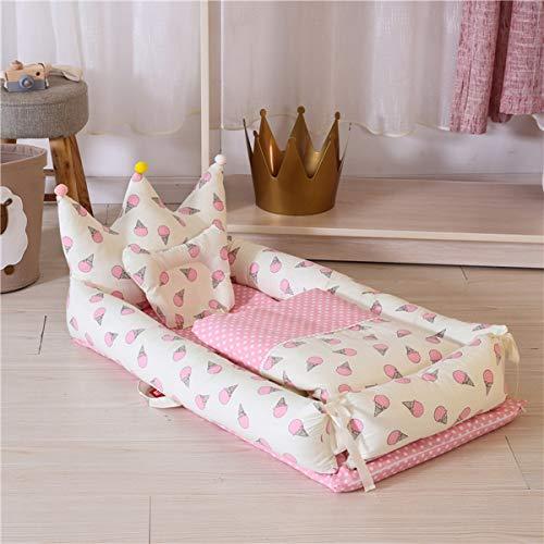 WNZL Baby Lounger, Co Sleeping Baby Stubenwagen - Babybett aus Baumwolle Premium-Qualität und größere Größe (0-24 Monate) - Atmungsaktives, hypoallergenes, tragbares Kinderbett,11 -