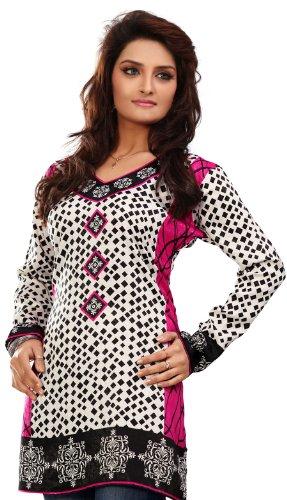 Inde Femmes Tunique Kurti Imprimé Chemisier Indien Vêtements Blanc 1