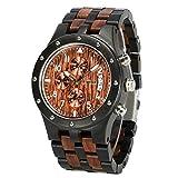 BEWELL Uhren Aus Holz Herrenuhr Chronograph Quarzwerk mit Holzarmband Datum Kalender Stoppuhr Rund Holzkern Uhr (Schwarz & Rot)