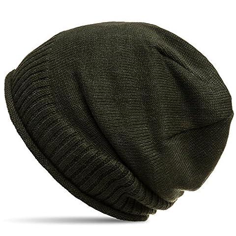 CASPAR MU180 dicke warme Feinstrick Beanie Mütze mit weichem Fleece Gefüttert, Farbe:oliv grün;Größe:One Size