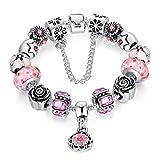 """A TE® Bracciale Charms """"Fiore"""" di Vetro Cristalli Smalto Catena Sicurezza Regalo Donna #JW-B109 (Rosa)"""