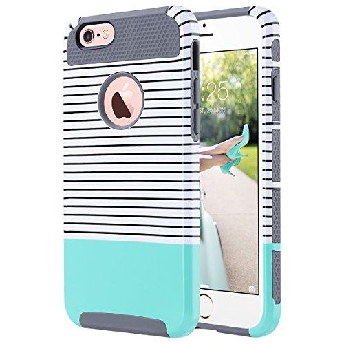 ULAK iPhone 6s hülle, iPhone 6 hülle Dual Layer Case Cover Hybrid Schild TPU + PC Hard Case Cover für iPhone 6s / 6 4,7 Zoll (Schwarzweiss -Streifen + Minzgrün) Gummi Hard Case Cover