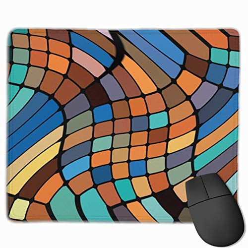 Whecom Brown Trippy Mosaic Non-Slip Personalized Designs Gaming Gaming Mauspad Black Cloth Rectangle Mousepad Art Natural Rubber Mouse Mat with Stitched Edges 9.8x11.8 Inch -