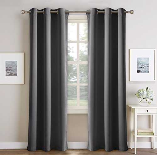 PONYDANCE Grey Blackout Curtains For Living Room Super Soft Sunlight Blocking Window Treatment Curtain Panels Home Decoration Privacy Protected