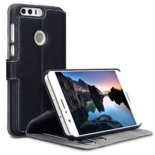 Huawei Honor 8 Cover, Terrapin Cover di Pelle con Funzione di Appoggio Posteriore per Huawei Honor 8 Custodia Pelle, Colore: Nero