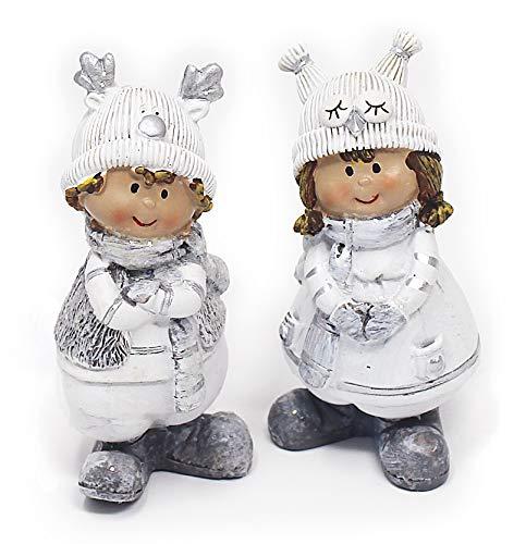 2x Deko Figur Wichtel Winterkinder Junge Mädchen Im Set Je 9 cm, Polystein Weiß Grau, Dekofigur Winter Weihnachten...