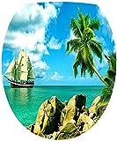 Sticker Autocollant Abattant WC Bâteau sur la mer 35x42cm SAWC0075