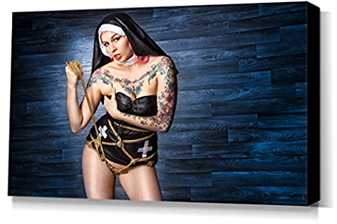 Tied Nun, Beautiful Tattoos - stretched canvas print - Fine Art of Bondage, sexy erotic fetish BDSM wall art, 40x60 cm, 16