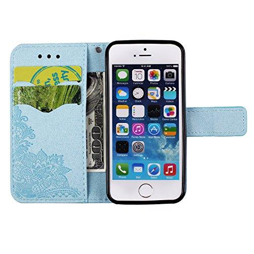 BtDuck Cover per iPhone 5S / iPhone SE / iPhone 5,Glitter Luccichio Modello Ultra Slim Cover Portafoglio Stile Semplice Flip Magnetica Custodia Pelle per iPhone 5S / iPhone SE / iPhone 5 Morbido Silic iPhone 5 5S SE-Blu