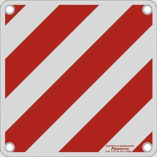 LANCO Automotive Vematro - Offizielle Warntafel für Italien mit Typengenehmigung, weiß/rot, 500x500mm aus stabilem Alu-Blech mit Ösen
