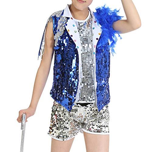 Gtagain Tanzsport Bekleidung Mädchen Kleider - Kinder Tippen Sie auf Tanzen Jazz Kostüme Pailletten Show Anzüge Sets Weste + Shorts Mantel - Tanzsport Kostüm Für Jungen