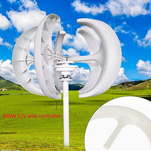 OUKANING Windturbine 600W 12V Vertikale Lantern Wind Turbine Generator+ Controller weiß Nylonfaser (600-watt-generator)