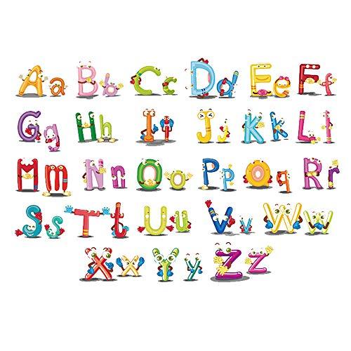 ufengke Wandtattoo Kinderzimmer Buchstaben Tiere Wandsticker Selbstklebend für Babyzimmer Wohnzimmer Baby Junge Mädchen -