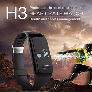 AlbitaStore H3 Tracker Fitness con Monitor de ritmo cardiaco, Pulsera Inteligente con Ritmo Cardiaco, reloj inteligente con pulsómetro H3 Bluetooth reloj inteligente surveiller Bluetooth - contador de paso - Mensaje/llamada Recordatorio sedentaria, sueño, calorías Track saludable Pulsera sincronización con Android 4.3 o superior y iPhone 6s/6/5S/4S Smartphone - Rastreador de fitness (Color: Negro)