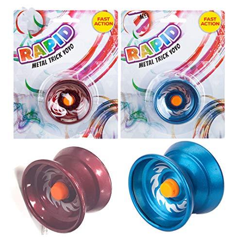 Packung MIT 2 STARKEN Metall-YOYO-Magic-Spinner-Trick-Kinder-SPIELRAD-Kupplung-Trick MIT String