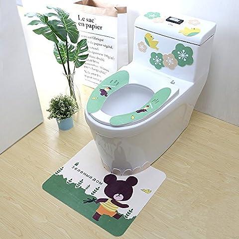 WC Cuhsion Drei Stücke Sets Wasserdichte Universal Toiletten Sets, B