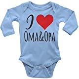 Als Geschenkidee zu Weihnachten bestellen Für Oma und Opa - Mikalino Langarm Babybody I Love Oma & Opa, Farbe:Sky;Grösse:56