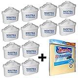 12 Brita Maxtra Filterkartuschen für Brita Optimax, Elemaris, Marella usw + 3 Spontex Fenstertücher
