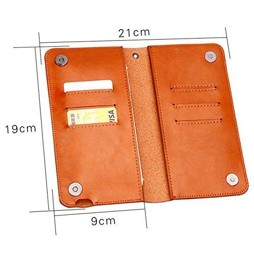 BLOOMSTAR cuoio Vintage Clutch Wallet Borsa Borsa custodia per iPhone 6/6s Plus iPhone 7/7 Plus (Rose Gold) oro