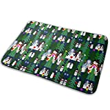 Salon Towels Snowman Winter Woodland Trees with Entrance Floor Mat Home Decor Carpet Indoor Rectangle Doormat Kitchen Comfort Mats