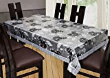 #9: Yellow Weaves Waterproof Multi Floral 3D Dining Table Cover 90*60 Inches(Black-Grey)