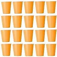 50x Vasos naranja vasos desechables para bebidas frías y bebidas calientes de cartón respetuoso con el medio ambiente, bodas, cumpleaños, Taza de café, picnic, Jardín, partido, barbacoas