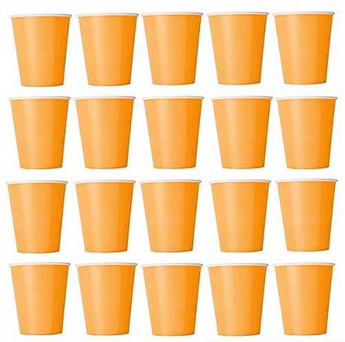 60 x Becher Orange Einwegbecher für Kaltgetränke und Heißgetränke aus Pappe umweltfreundlich, Hochzeit, Geburtstag, Kaffeebecher, Picknick, Garten, Party, Grillen