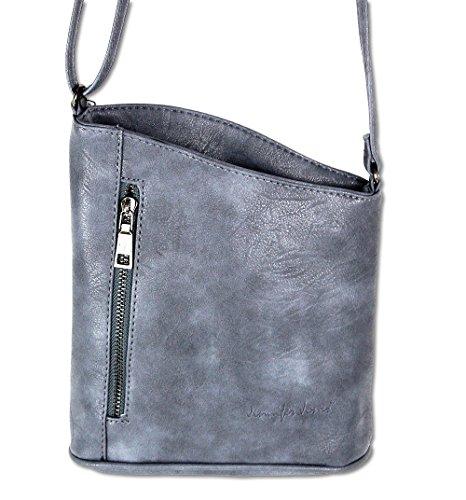 Jennifer Jones Taschen Damen Damentasche Handtasche Schultertasche Umhängetasche Tasche klein Crossbody Bag taupe (3107) Jeans-Blue