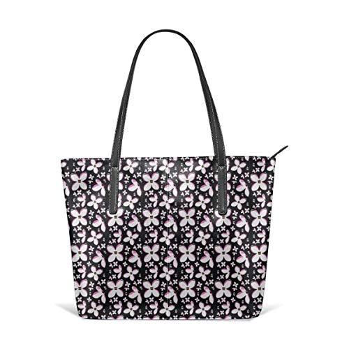 hulili Damen Tasche Schultertasche aus weichem Leder Weiß Lila Auf Schwarz Polster Mode Handtaschen Umhängetasche Geldbörse