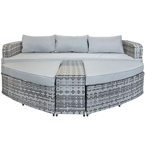 Bentley Sofa (Charles Bentley - Sofa-Set aus Rattan - Gartenmöbel - 2 große Hocker & 1 Tisch mit Glasplatte - Grau)
