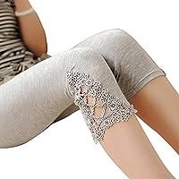 Vertvie Women's Essential Modal Capri Leggings with Lace Crochet Ornament (One Size, Grey)