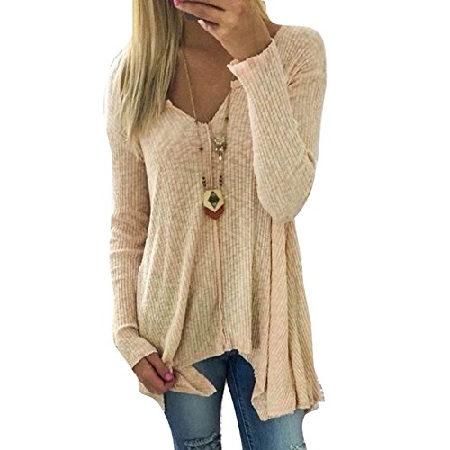Damen Pullover V-Ausschnitt Sweater - Frauen Oberteile Langarm Shirt Jumper Strickpullover Unregelmäßiger Tops Strickpulli Herbst und Winter Sweatshirt Khaki L hibote Top-Angebote